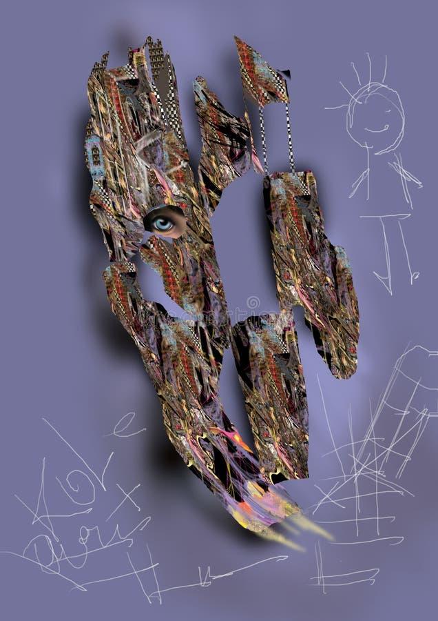 Abstraktes Bild einer Barke mit einem Augeninnere und -kind lizenzfreie abbildung