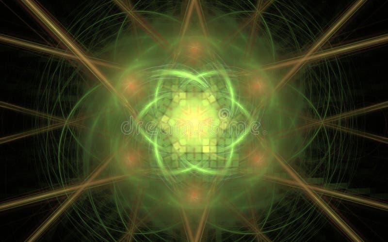 Abstraktes Bild einer fabelhaften Blume der grünen Farbe mit einem quadratischen Verzierungsinnere auf einem Hintergrund von unsc stock abbildung
