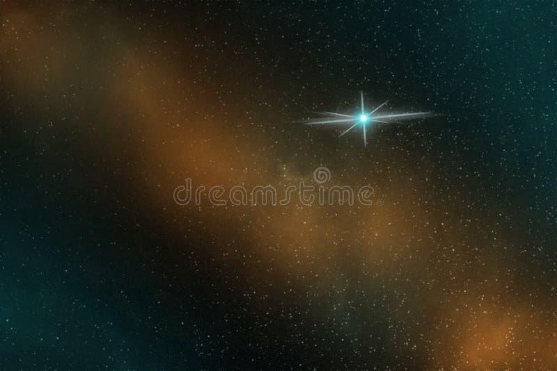 Abstraktes Bild eines einsamen hellen blauen Sternes im endlosen Raum lizenzfreie abbildung