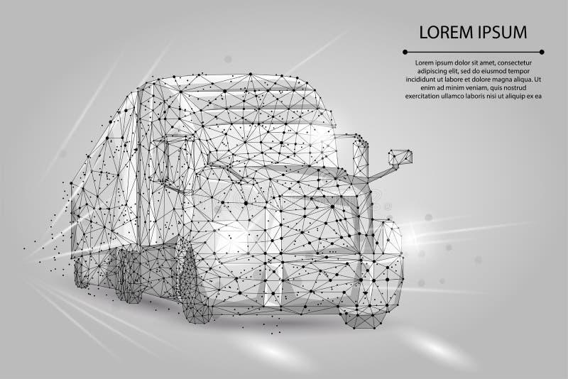 Abstraktes Bild eines LKWs, der Punkten, Linien und aus Formen besteht schwerer Packwagen des Lastwagens 3d auf Landstraßenstraße vektor abbildung