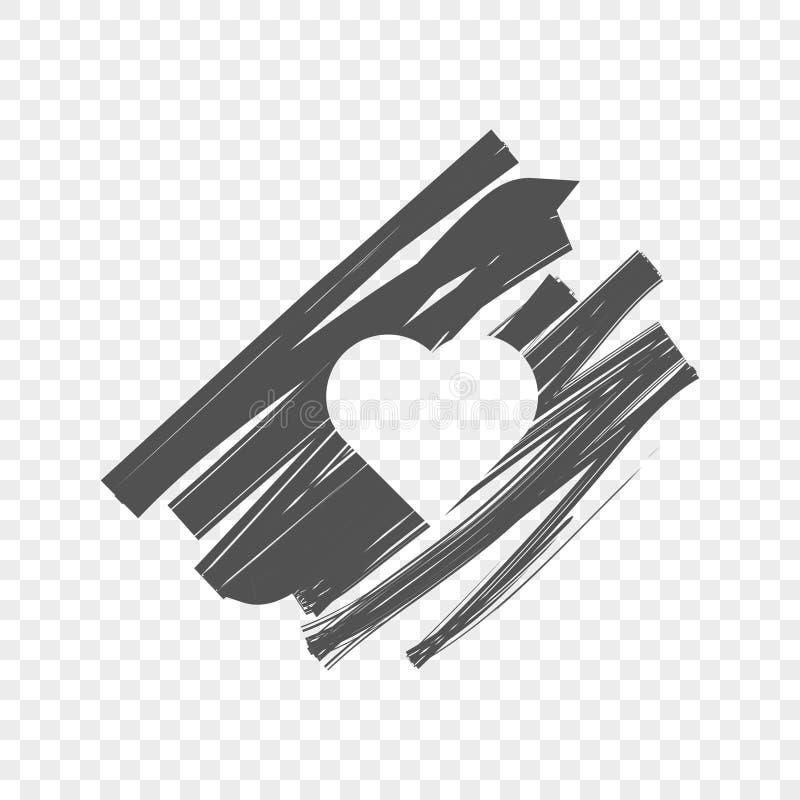 Abstraktes Bild eines schattierten Hintergrundes mit einem Herzen in der Mitte Vektorillustration auf einem lichtdurchlässigen Hi stockbilder