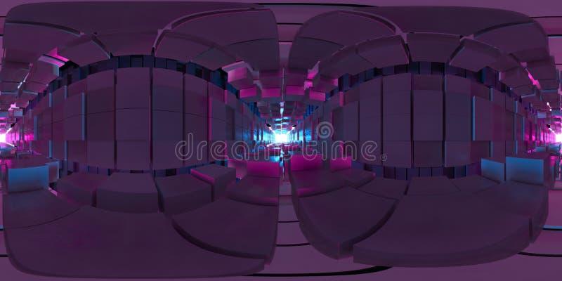 Abstraktes Bild Panoramas VR 360 des Würfelhintergrundes, des Weges zum Licht, des Plastikrosas und des blauen Hintergrundes stockfoto
