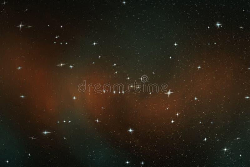 Abstraktes Bild von hellen Sternen im endlosen Raum im blauen und gelben Licht, Illustration vektor abbildung