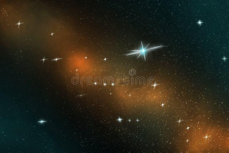 Abstraktes Bild von hellen Sternen im endlosen Raum im blauen und gelben Licht, Illustration lizenzfreie abbildung