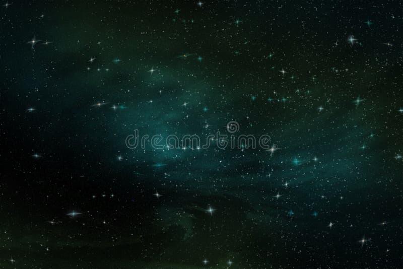 Abstraktes Bild von hellen Sternen im endlosen Raum im blauen und grünen Licht, Illustration lizenzfreie abbildung