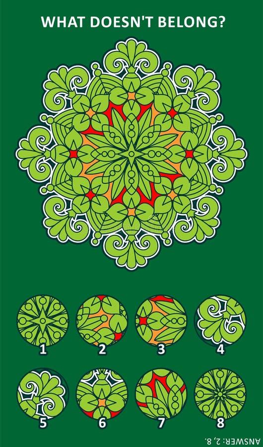 Abstraktes Bildpuzzlespiel mit Mandala ähnlichem Design stock abbildung