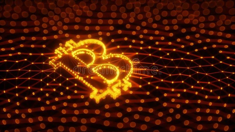 Abstraktes Bitcoin-Zeichen errichtet als Reihe Geschäfte in Begriffs-Illustration 3d Blockchain stockbild