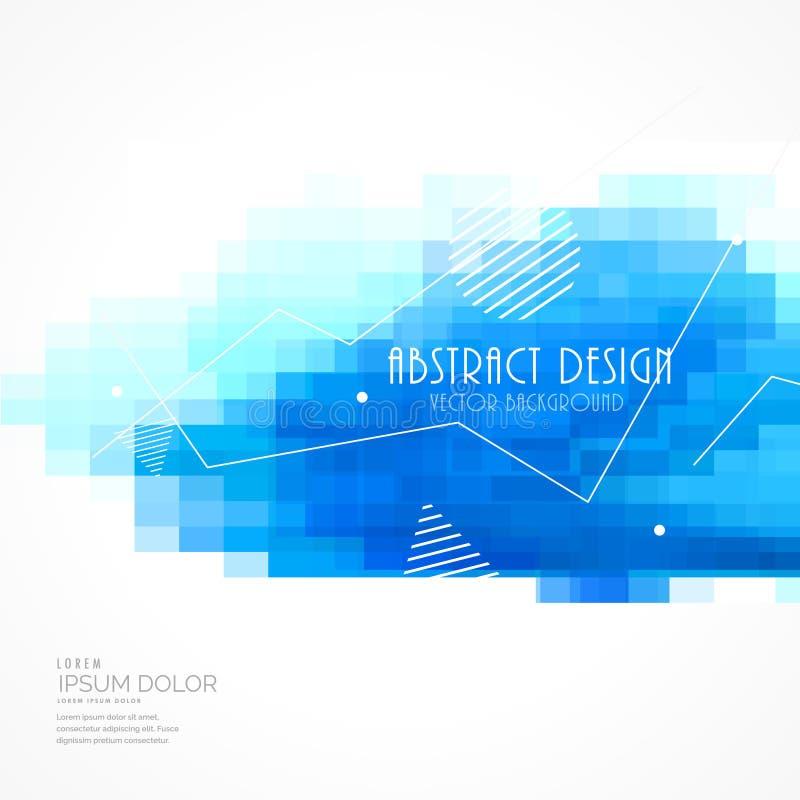 Abstraktes Blau deckt Mosaikhintergrund mit quadratischer Masche mit Ziegeln lizenzfreie abbildung