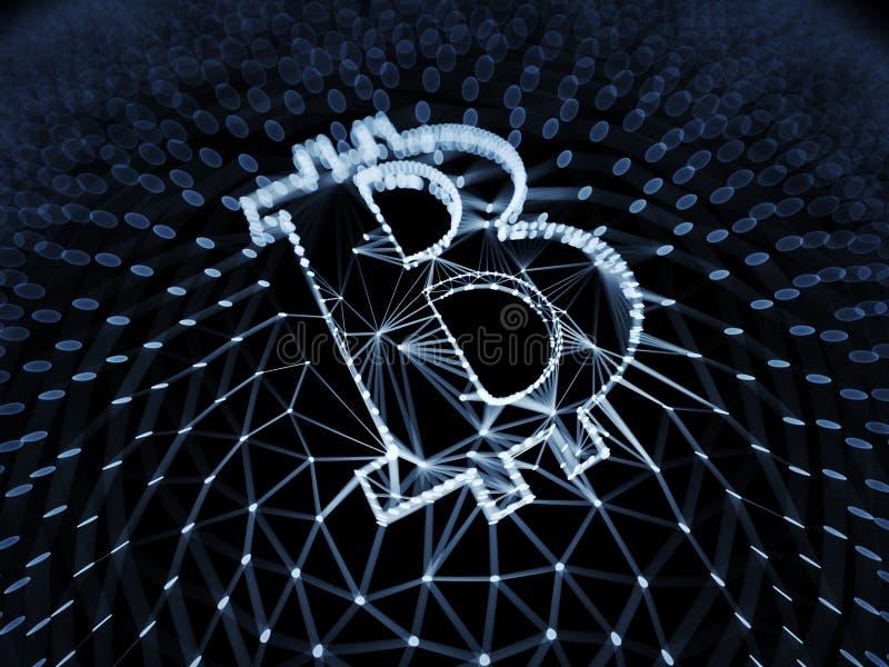 Abstraktes blaues Bitcoin-Zeichen errichtet als Reihe Geschäfte in Begriffs-Illustration 3d Blockchain lizenzfreies stockbild