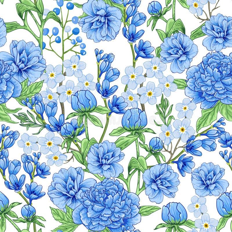 Abstraktes blaues Frühlingsblumenmuster lizenzfreie stockbilder