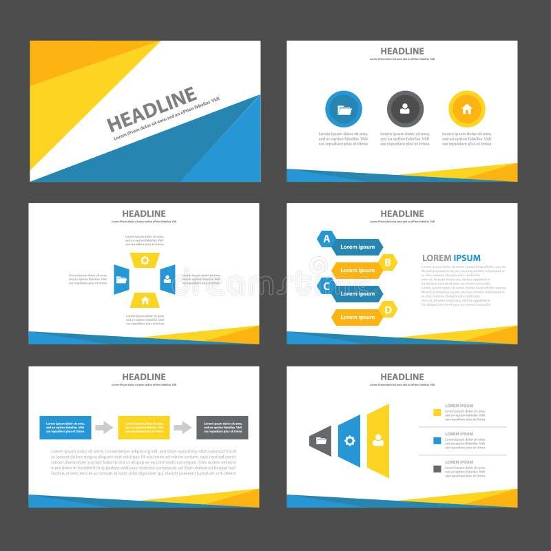 Abstraktes blaues gelbes infographic Element und flaches Design der Ikonendarstellungsschablonen stellten für Broschürenflieger-B vektor abbildung