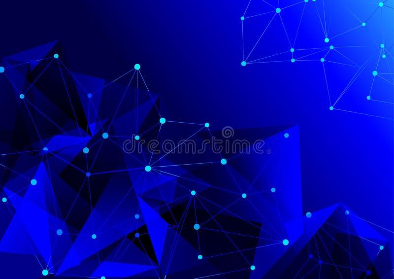 Abstraktes blaues geometrisches Gitter der Bereich von Molekülen stockbild