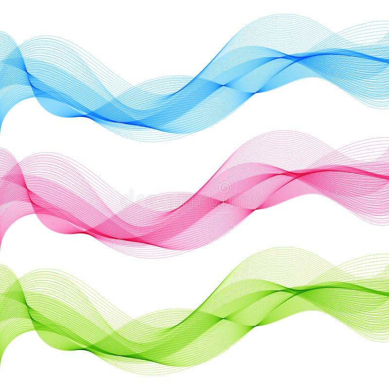 Abstraktes Blaues, grün, rosa, Gestaltungselemente lokalisierte Wellen-Linien stock abbildung