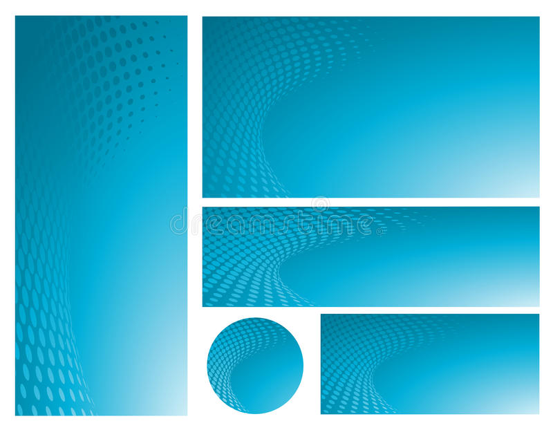 Abstraktes blaues Hintergrund-Schablonen-Set vektor abbildung