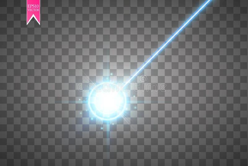 Abstraktes blaues Laserstrahl Laser-Sicherheitsstrahl lokalisiert auf transparentem Hintergrund Heller Strahl mit Glühenzielblitz lizenzfreie abbildung