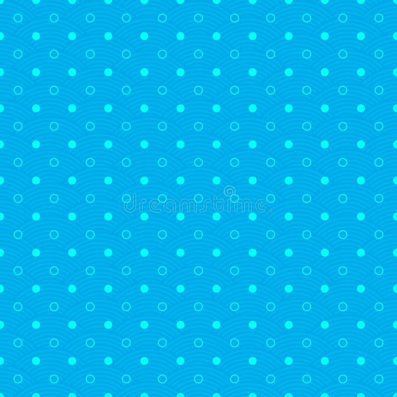 Abstraktes blaues nahtloses Muster mit weißen Kreisen, Wellen und Punkt stock abbildung