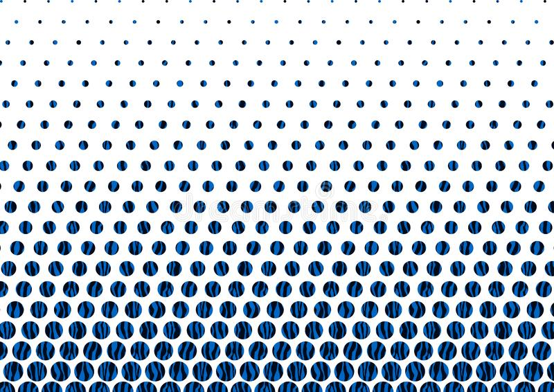 Abstraktes blaues und schwarzes Halbton Dots Pattern im weißen Hintergrund stock abbildung