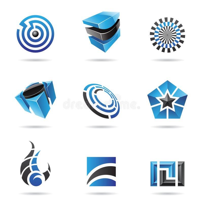 Abstraktes blaues und schwarzes Ikonen-Set stock abbildung