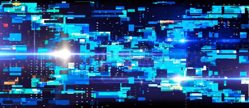 Abstraktes Blockkettennetz, PWB-Hintergrund mit Aufflackern Abbildung 3D lizenzfreies stockfoto