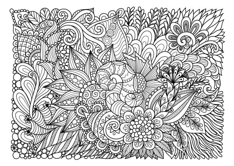 Abstraktes Blumen-lineart für Hintergrund und Erwachsenmalbuchseite Auch im corel abgehobenen Betrag vektor abbildung