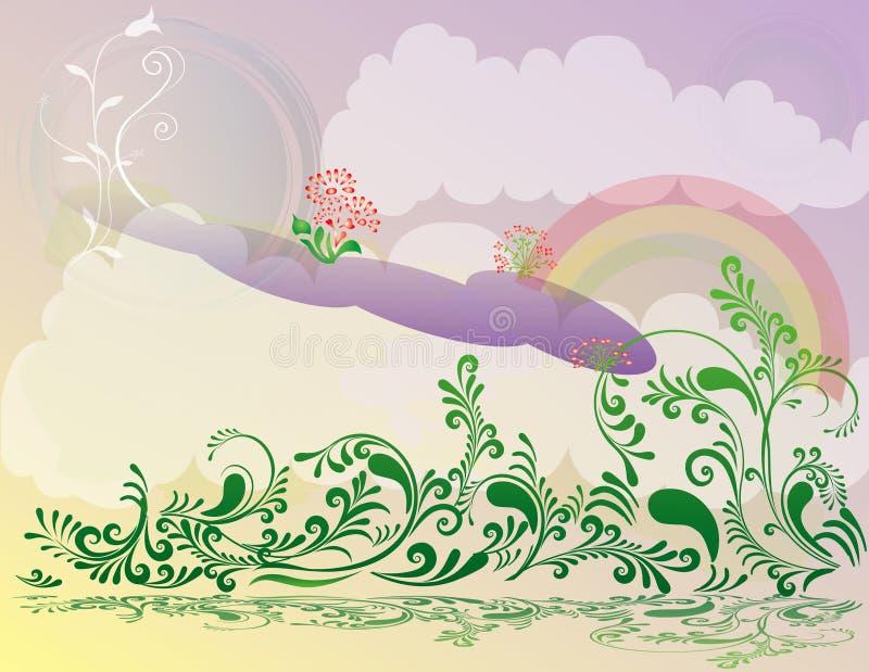Abstraktes Blumenfrühlings-Abbildung landsca lizenzfreie abbildung