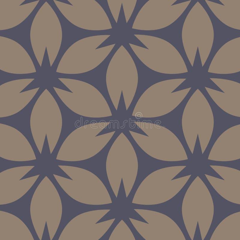 Abstraktes Blumenmuster Beige und dunkelblauer Vektorhintergrund Geometrische Blattverzierung vektor abbildung
