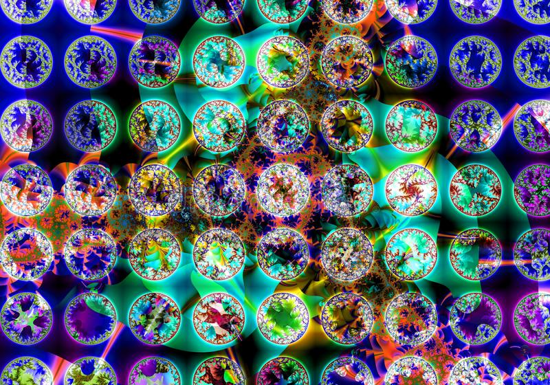Abstraktes Blumenmuster von verschiedenen Fractalkreisen lizenzfreie abbildung