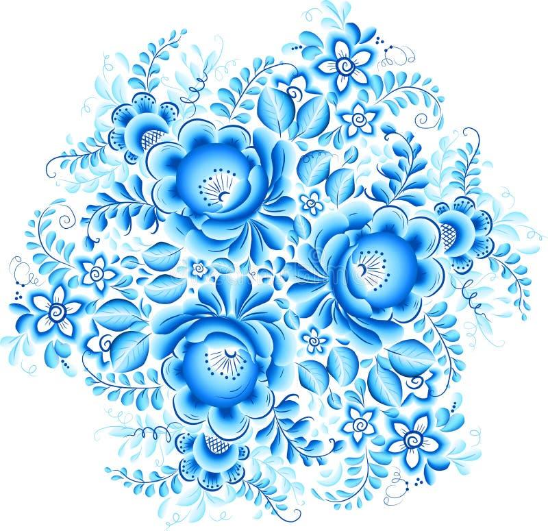 Abstraktes Blumenvektorelement in gzhel Art vektor abbildung