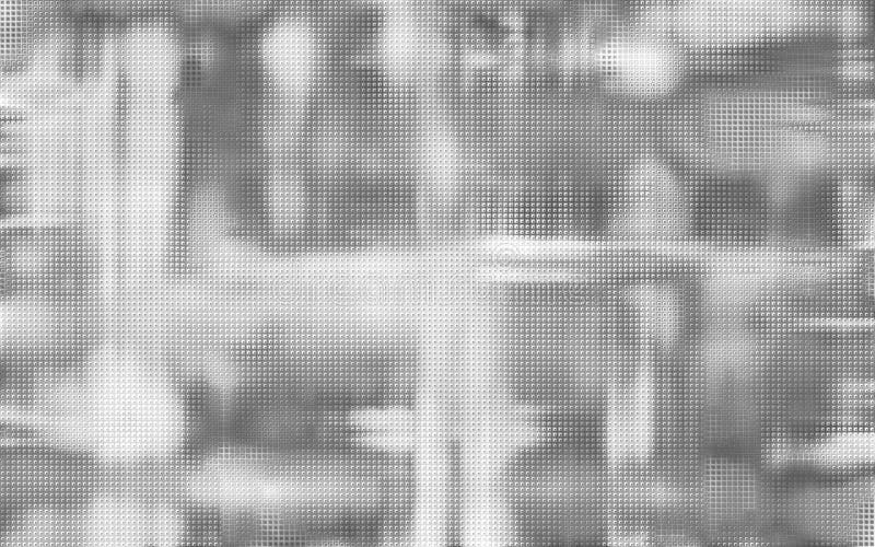 Abstraktes bokeh Schwarzweiss-Bild mit Kubikgitter überlagerte Beschaffenheit lizenzfreie abbildung