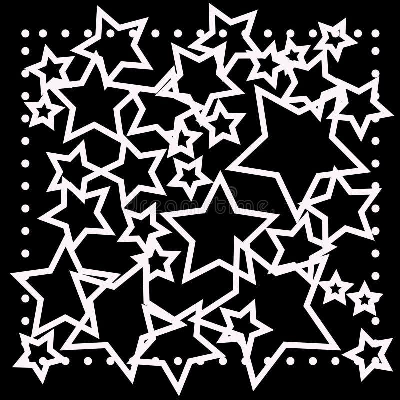 Abstraktes bokeh weißer Stern auf schwarzem Hintergrund stock abbildung