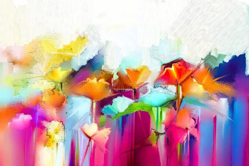 Abstraktes buntes Ölgemälde auf Segeltuch Halb- abstraktes Bild von Blumen, in Gelbem und in Rotem mit blauer Farbe lizenzfreie abbildung