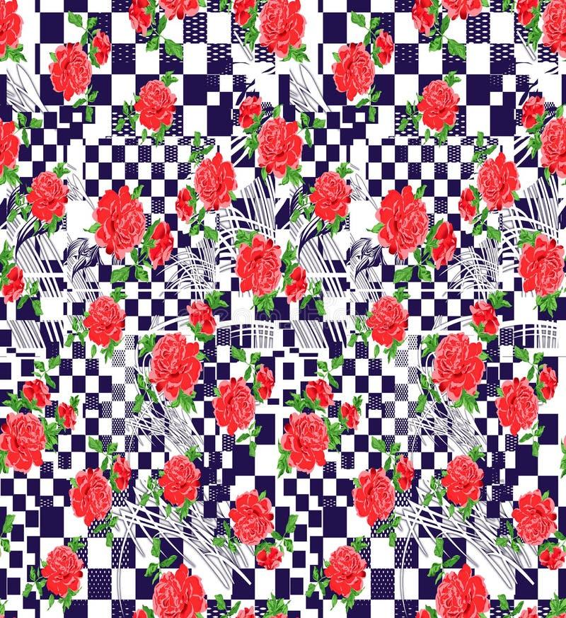 Abstraktes buntes Blockdruckmuster vektor abbildung