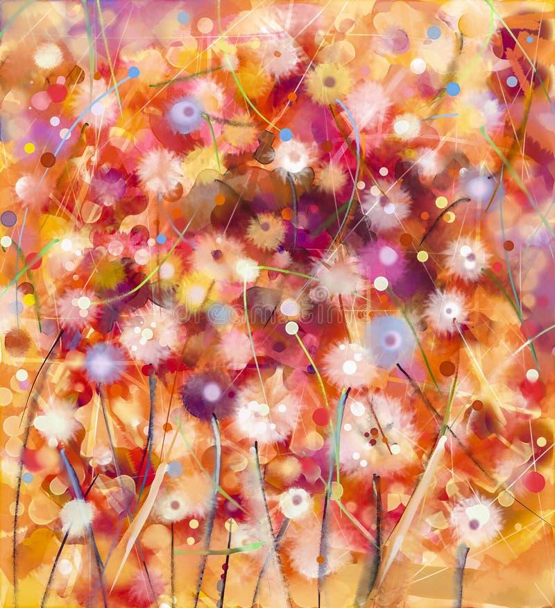 Abstraktes buntes Blumen, Aquarellmalerei Handfarbe Weiß, stock abbildung