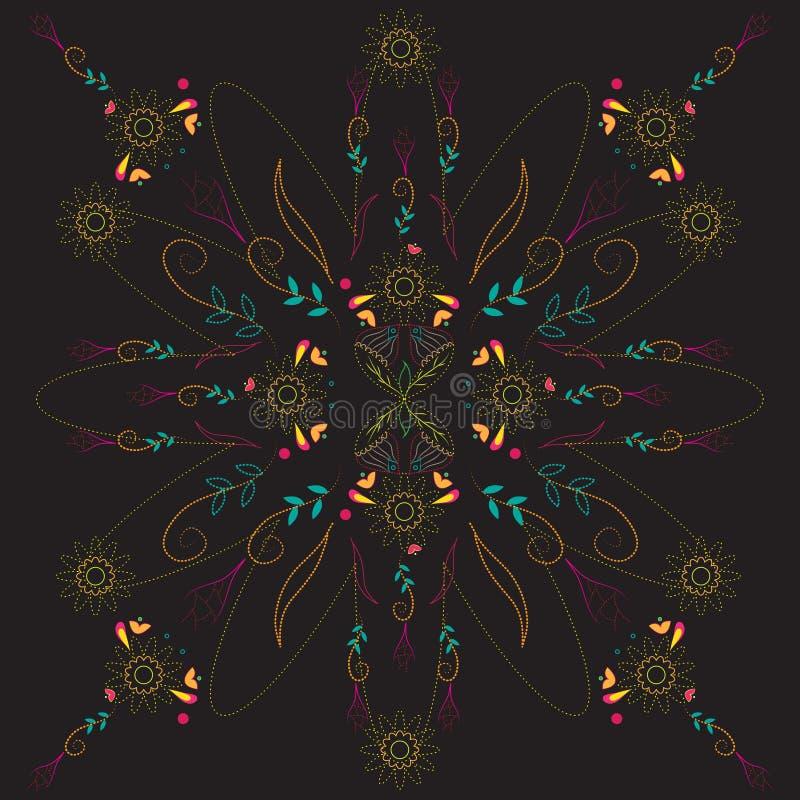 Abstraktes buntes Blumengrafikdesign auf schwarzem Hintergrund vektor abbildung