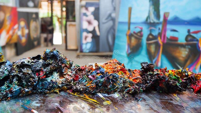 Abstraktes buntes der Kunst vom Ölgemälde stockfotos