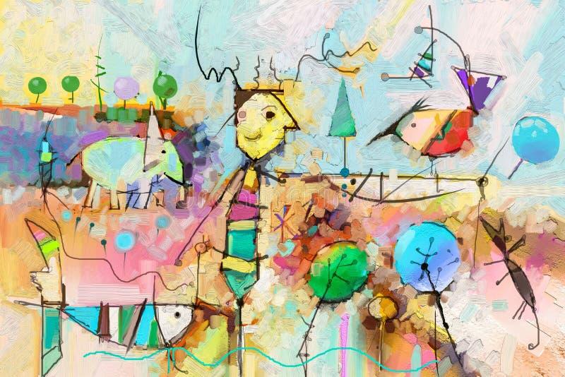 Abstraktes buntes Fantasieöl, Acrylmalerei Halb- abstrakte Farbe des Baums, der Fische, des Elefanten und des Vogels in der Lands lizenzfreie abbildung
