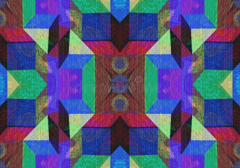 Abstraktes buntes geometrisches Design mit Quadraten und Dreiecken vektor abbildung