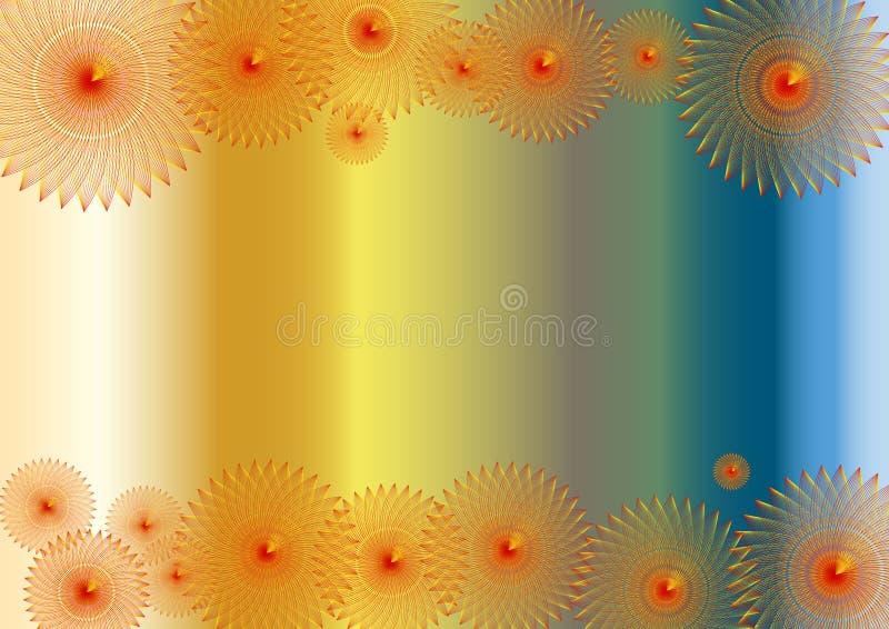 Abstraktes buntes Hintergrundfeld und rote Blumen vektor abbildung