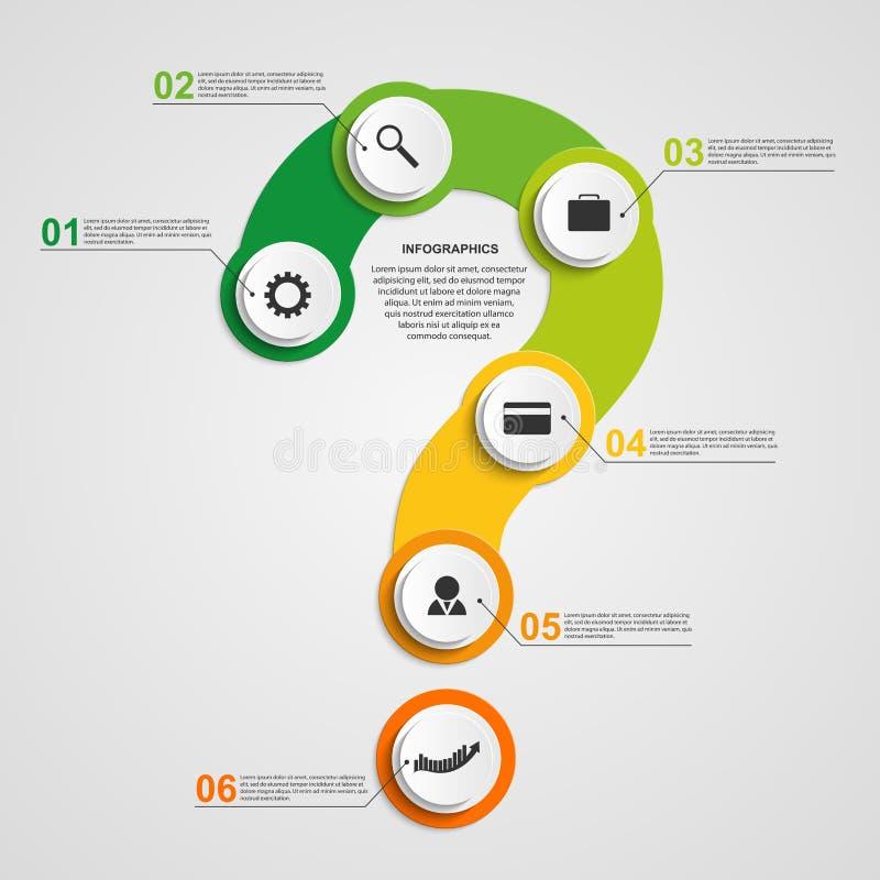 Abstraktes buntes infographic in Form von Fragezeichen Vier Schneeflocken auf weißem Hintergrund stock abbildung