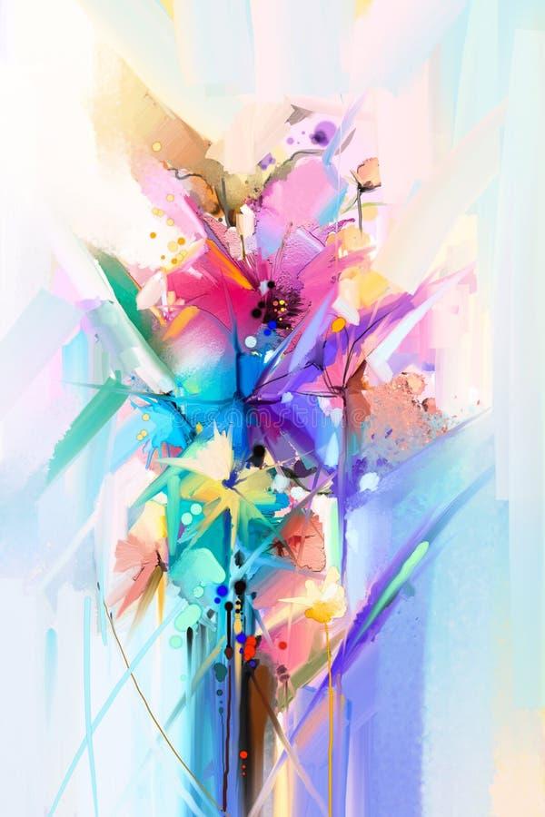 Abstraktes buntes ?l, Acrylmalerei der Fr?hlingsblume Handgemalter B?rstenanschlag auf Segeltuch Illustrationsölgemälde mit Blume stock abbildung