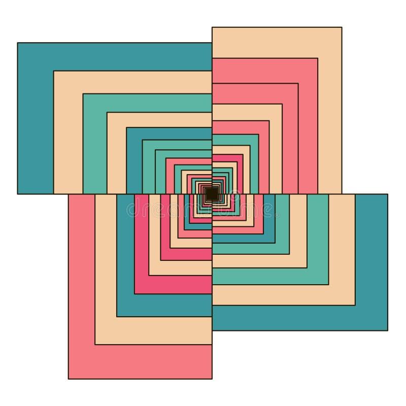 Abstraktes buntes Retro- geometrisches Hexagon lizenzfreie abbildung