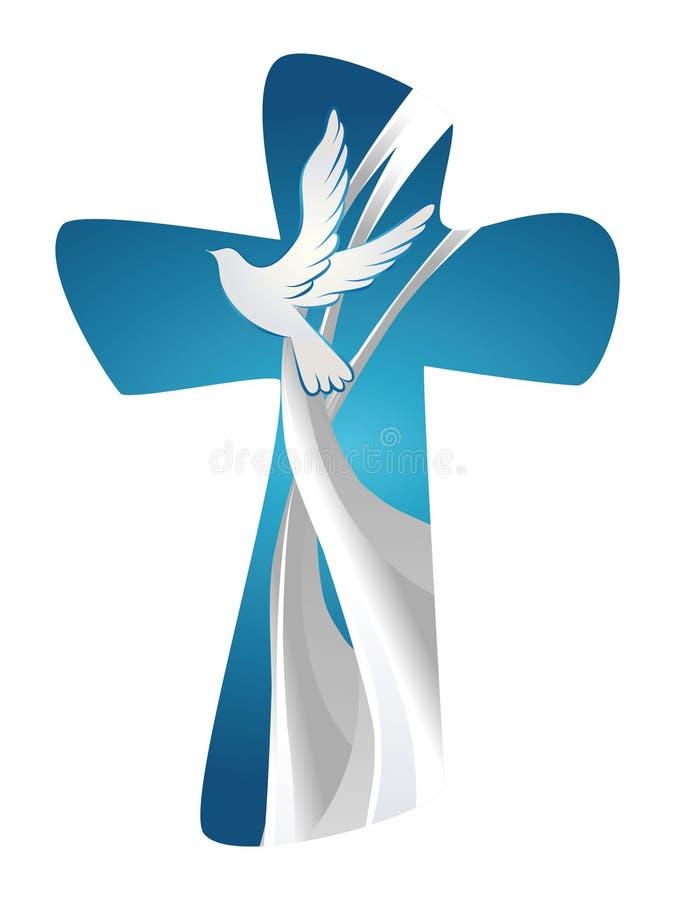 Abstraktes christliches Quersymbol Heiliger Geist mit Taube auf blauem Hintergrund lizenzfreie abbildung