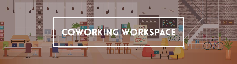 Abstraktes 3d übertrug Innenraum Coworking-Arbeitsplatz Vektor stock abbildung