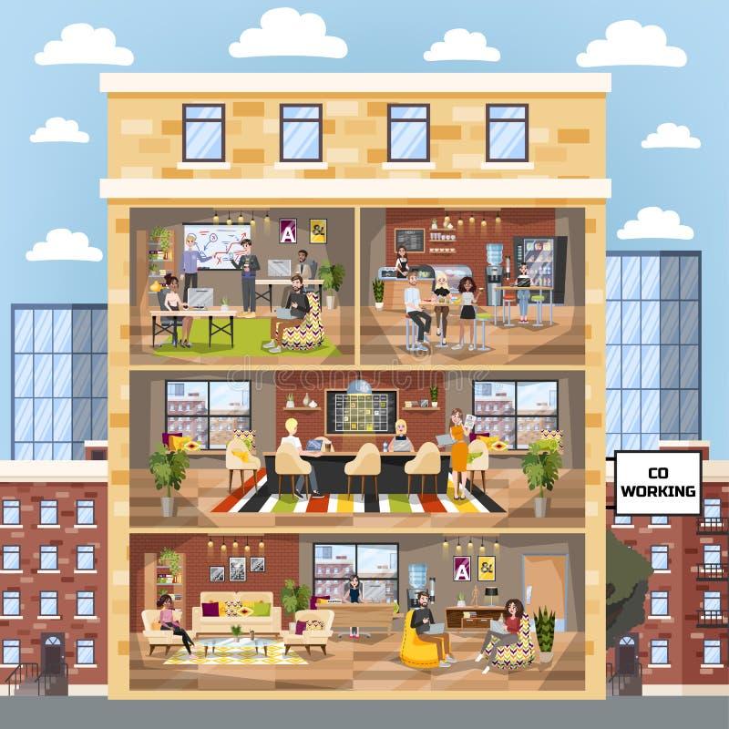 Abstraktes 3d übertrug Innenraum Coworking-Firma, Arbeitsplatz für freiberuflich tätiges lizenzfreie abbildung