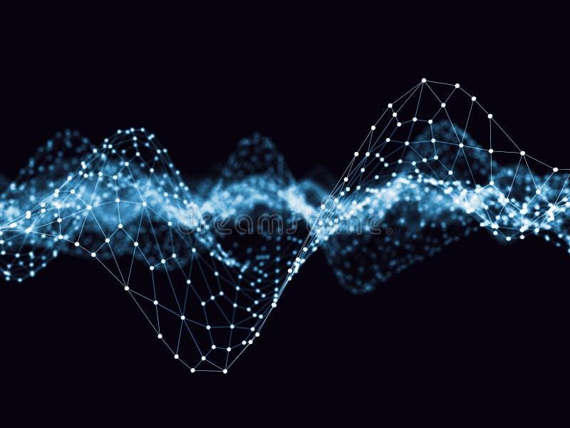 Abstraktes 3d, das futuristische Punkte und Linien überträgt geometrische digitale Verbindungsstruktur des Computers Plexus mit P lizenzfreie abbildung