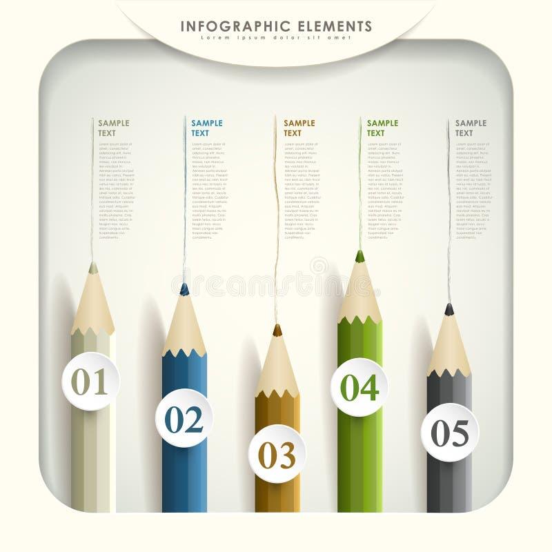 Abstraktes 3d farbiges Bleistift infographics lizenzfreie abbildung