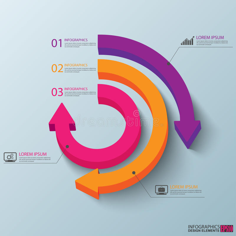 Abstraktes 3D Papier Infographic stock abbildung