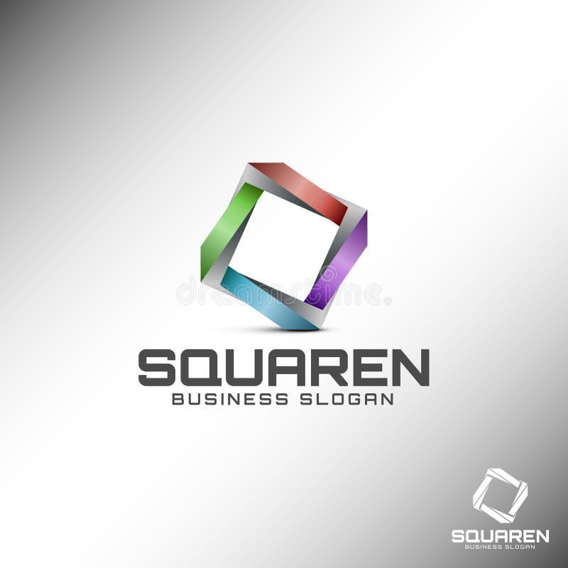 Abstraktes 3D Quadrat Logo Template stock abbildung