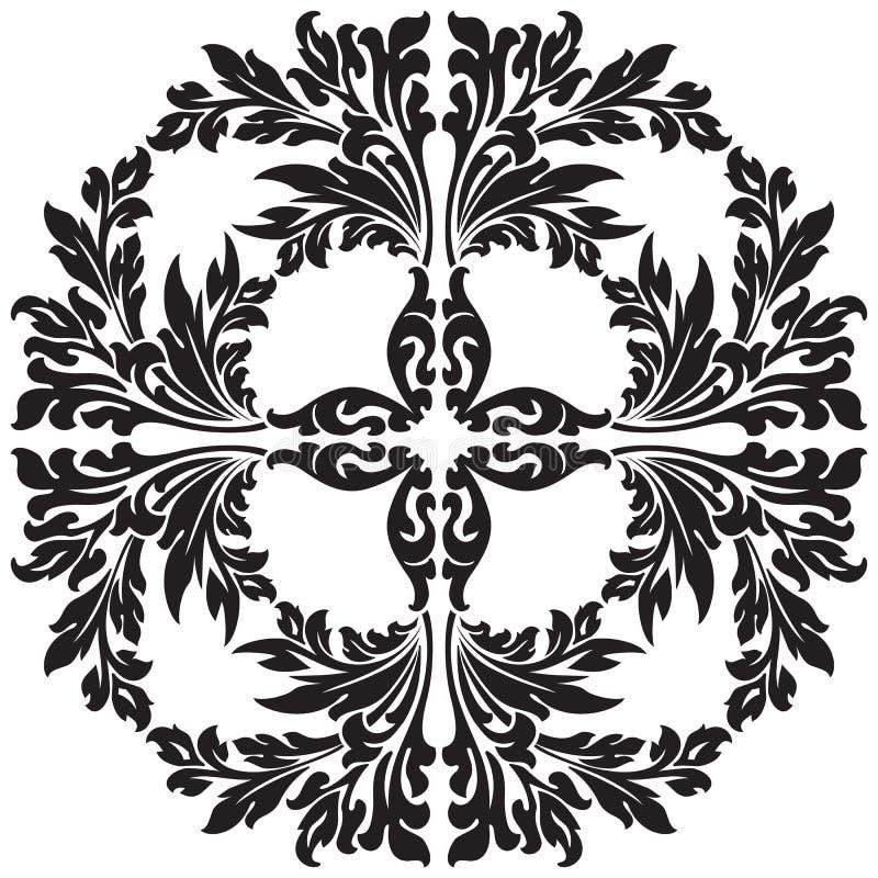 Abstraktes dekoratives mit Blumenelement im schwarzen Farbenvektorillustr stock abbildung