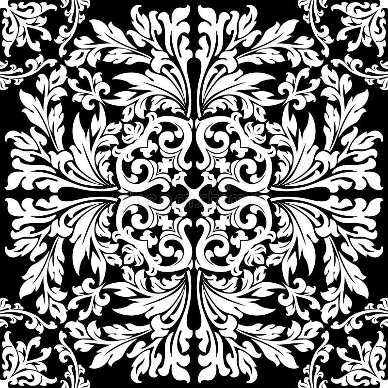 Abstraktes dekoratives mit Blumenelement im schwarzen Farbenvektorillustr lizenzfreie abbildung